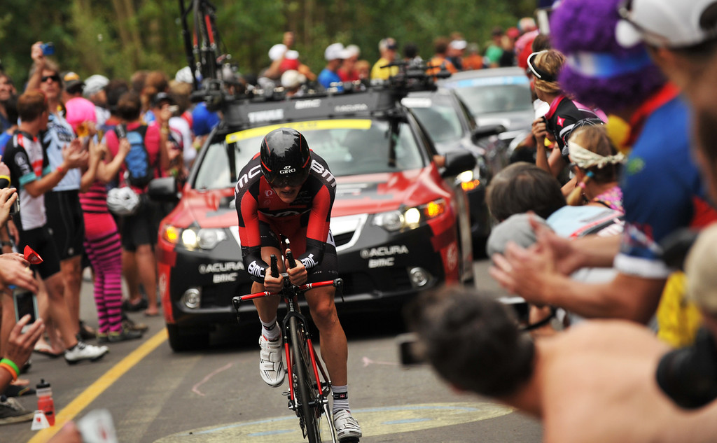 . Mathias Frank of BMC Racing team is climbing Vail pass during the 10-mile Individual Time Trial of 2013 USA Pro Challenge, August 23, 2013. (Photo by Hyoung Chang/The Denver Post)