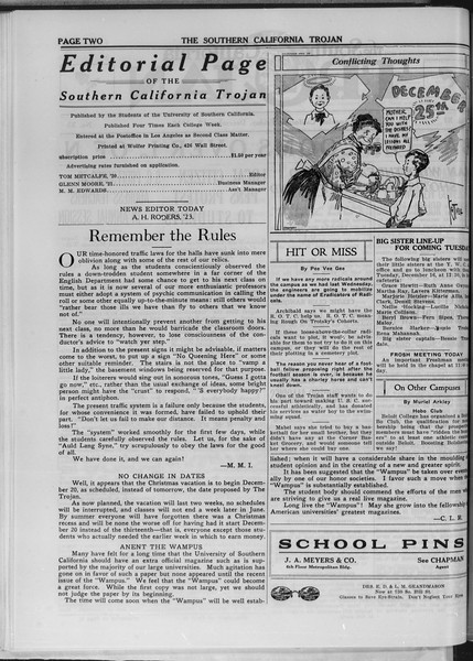 The Southern California Trojan, Vol. 11, No. 33, December 12, 1919