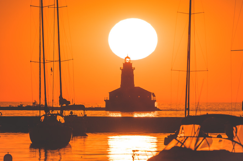 Silhouetted Chicago Harbor Lighthouse