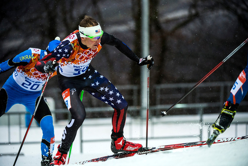 . Bill Demong, of Park City, (38) competes in the Nordic combined 10km cross-country ski competition at the Gorki Ski Jumping Center during the 2014 Sochi Olympics Tuesday February 18, 2014. Demong finished in 31st place with a time of 23:23.3. (Photo by Chris Detrick/The Salt Lake Tribune)