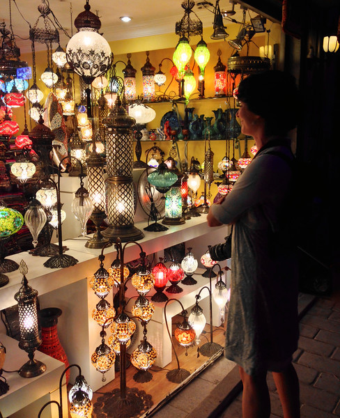 Admiring the beautiful lamps....of course I had to bring one of these home!