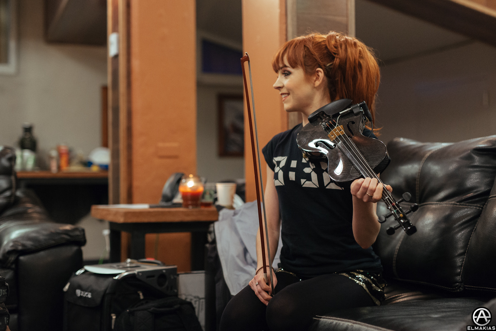 Photo of Lindsey Stirling warming up by Adam Elmakias
