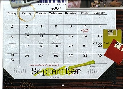 the office calendar september