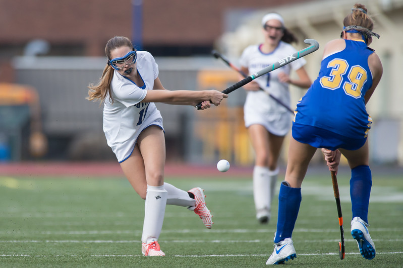 Southington's Sydney Rice takes a penalty shot Monday during a qualifying round in Class L of the CIAC Tournament at Fontana Field in Southington November 6, 2017 | Justin Weekes / For the Record-Journal