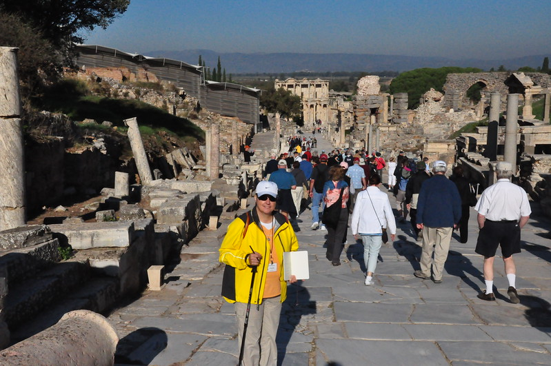 2010-10-31  320  Ephesus - Veronica on Curetes Way, with Library of Celsus in the Distance