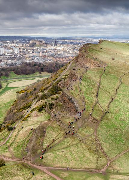 Salisbury Crags and Edinburgh cityscape