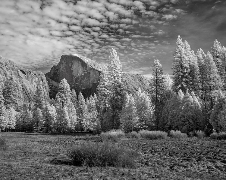 Infrared Black and White photo of Half Dome
