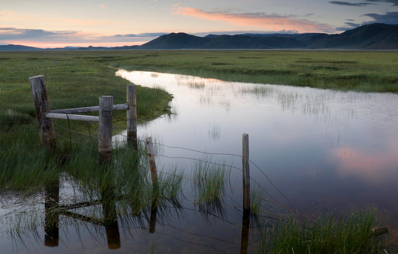 Camas Prairie Sunrise - Idaho  A soft pink sky reflects in the quiet marshes of the Camas Prairie. Thousands of migrating birds stop here each spring, and it is an amazing, colorful, noisy sight to see.