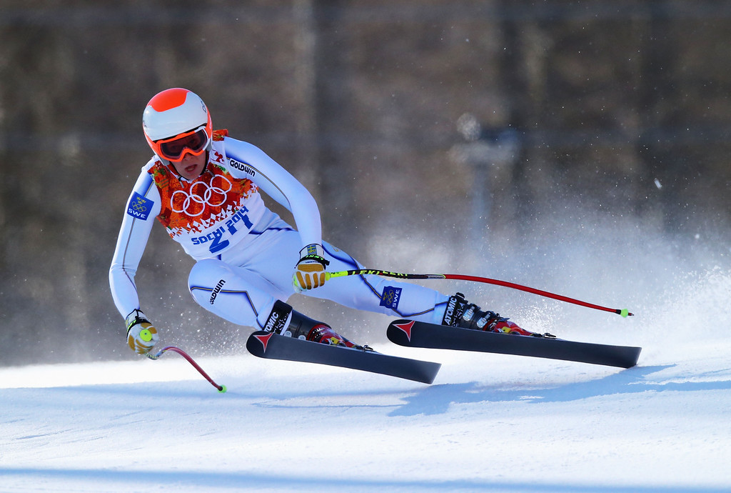 . Sara Hector of Sweden skis during the Alpine Skiing Women\'s Downhill on day 5 of the Sochi 2014 Winter Olympics at Rosa Khutor Alpine Center on February 12, 2014 in Sochi, Russia.  (Photo by Clive Rose/Getty Images)