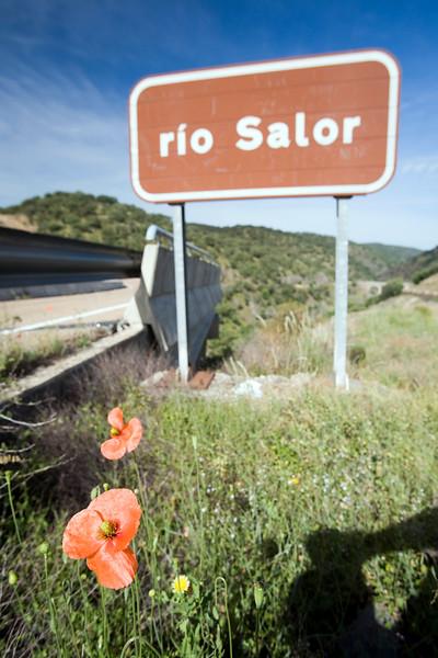 Salor river road sign, Caceres, Spain