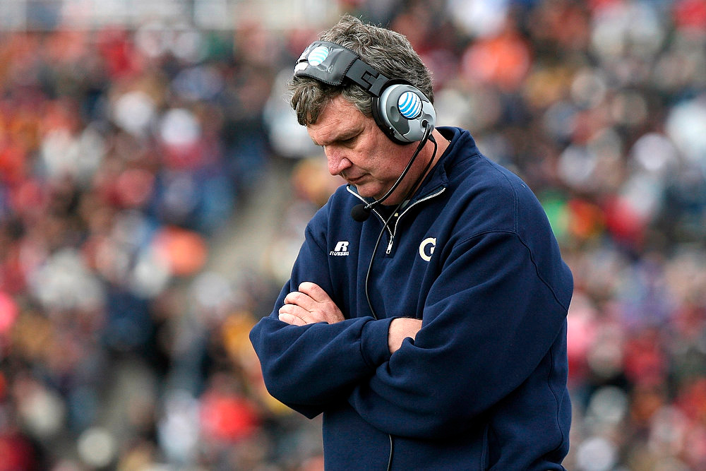 Description of . Georgia Tech head coach Paul Johnson reacts after his team fumbled during the Sun Bowl NCAA college football game against Southern California, Monday, Dec. 31, 2012, in El Paso, Texas. (AP Photo/Mark Lambie)