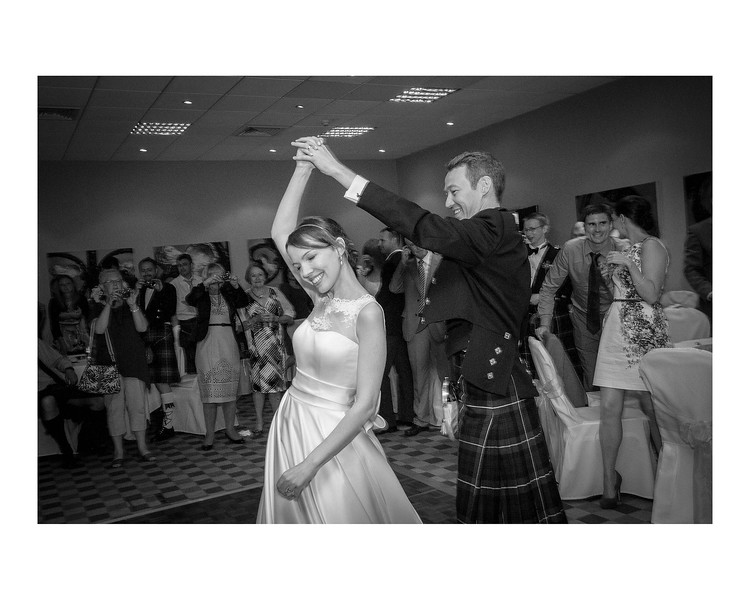 Wedding Photography of Susan & Ross, Barony Castle, Peebles, Photograph is of the Bride & Groom during the first dance