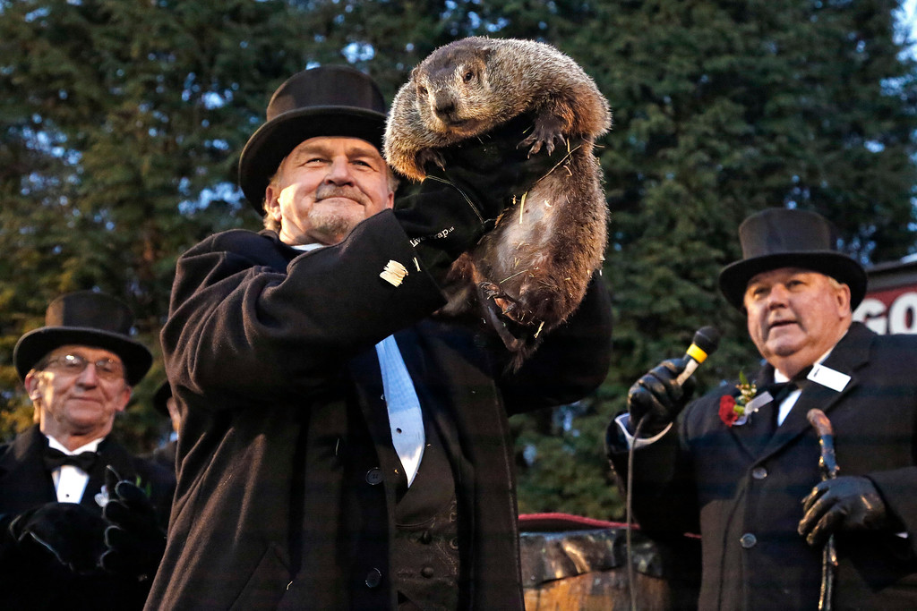 . Groundhog Club handler John Griffiths, center, holds Punxsutawney Phil, the weather prognosticating groundhog, during the 131st celebration of Groundhog Day on Gobbler\'s Knob in Punxsutawney, Pa., Thursday, Feb. 2, 2017. Phil\'s handlers said that the groundhog has forecast six more weeks of winter weather. (AP Photo/Gene J. Puskar)