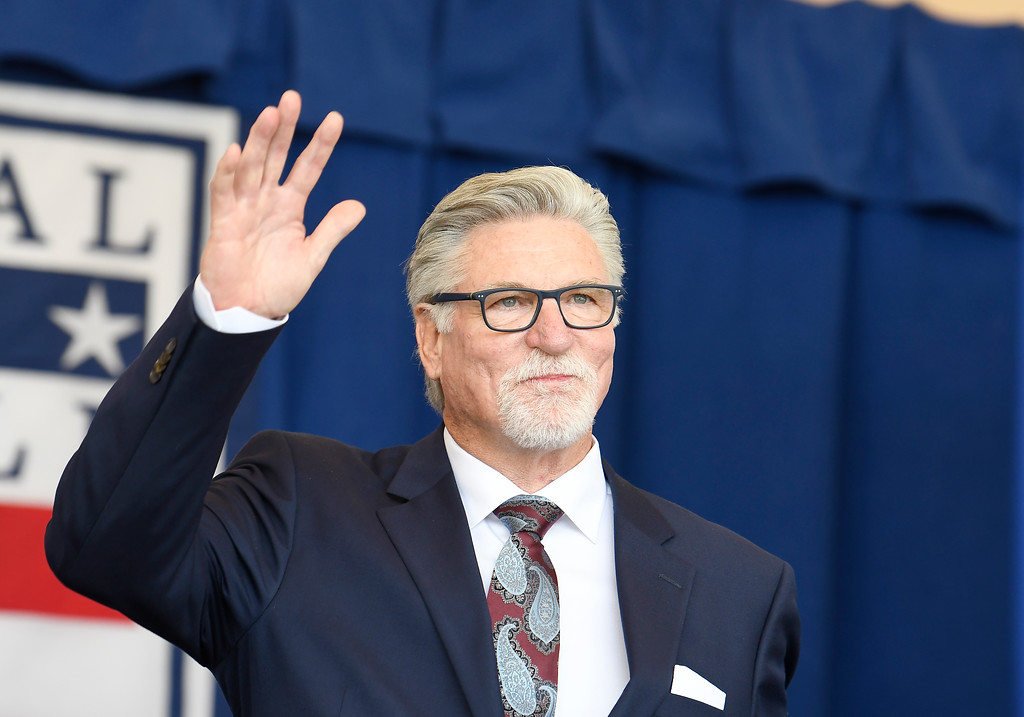 . National Baseball Hall of Fame inductee Jack Morris is introduced during an induction ceremony at the Clark Sports Center on Sunday, July 29, 2018, in Cooperstown, N.Y. (AP Photo/Hans Pennink)