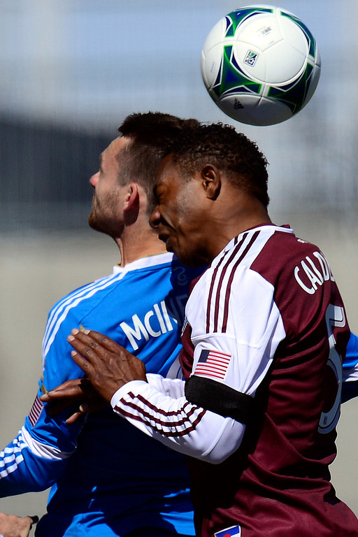 . COMMERCE CITY, CO - MARCH 10: Jose Calderon (5) of the Colorado Rapids and Jack McInerney (9) of the Philadelphia Union vie for a ball during the first half of action. The Colorado Rapids play the Philadelphia Union at Dick\'s Sporting Goods Park. (Photo By AAron Ontiveroz/The Denver Post)