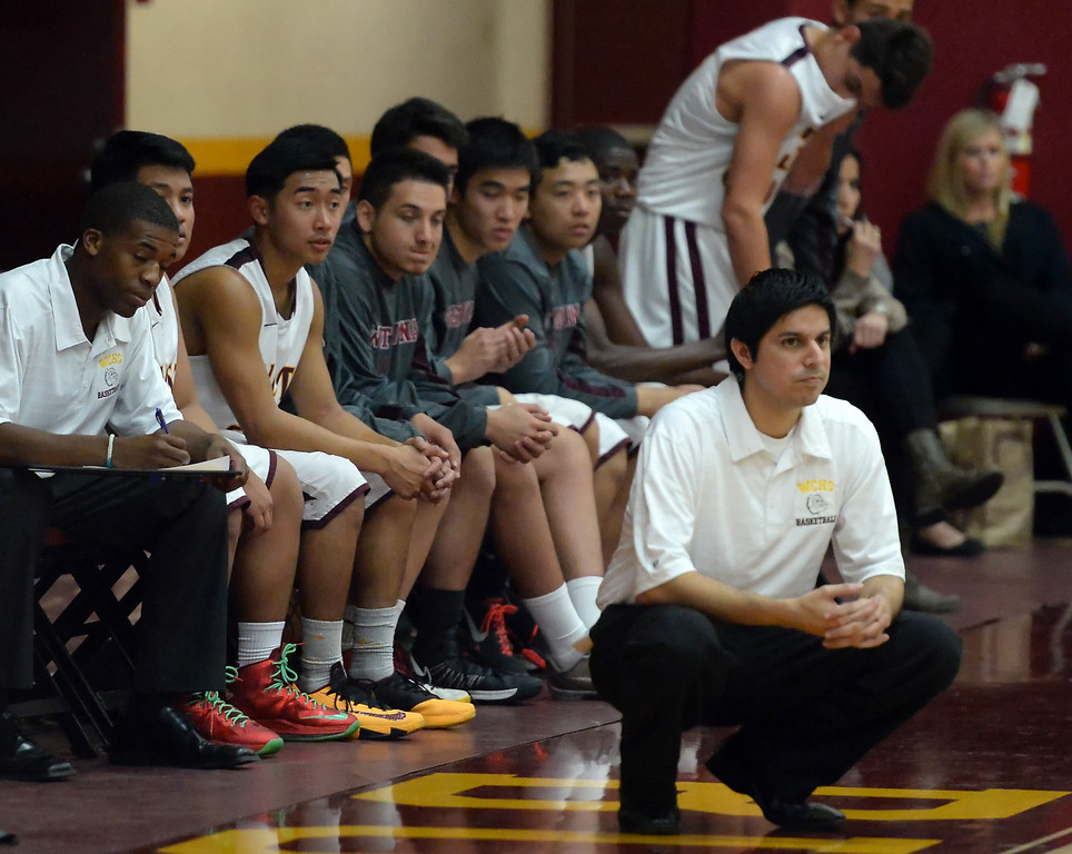 . West Covina head coach Manuel Lopez in the first half of a prep basketball game against Diamond Ranch at West Covina High School in West Covina, Calif., on Wednesday, Jan. 8, 2014. (Keith Birmingham Pasadena Star-News)