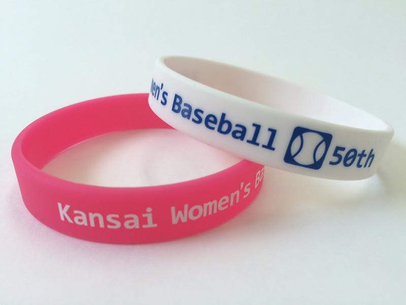Kansai Women's Baseball 50thシルク印刷リストバンド