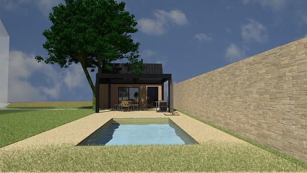 Zahradní domek s pergolou