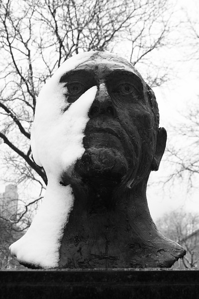 Statue scarred by snow