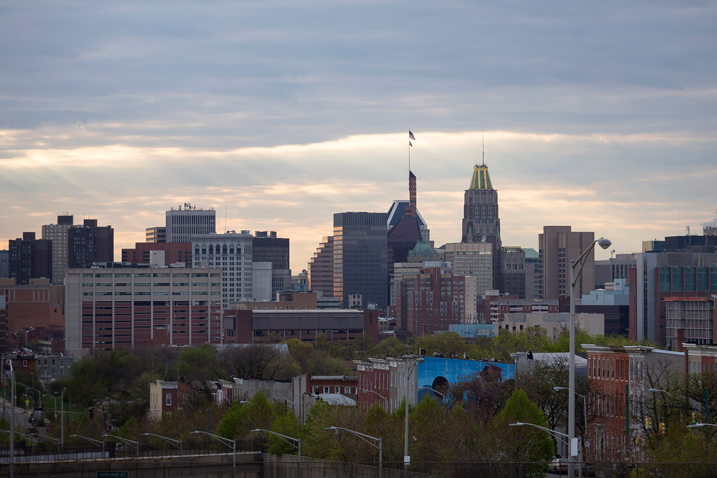 . BALTIMORE, MD - APRIL 27: A view of downtown Baltimore on April 27, 2015 in Baltimore, Maryland. Funeral services for Gray, who died last April 16, while in police custody, will be held the morning of April 27, at New Shiloh Baptist Church. (Drew Angerer/Getty Images)