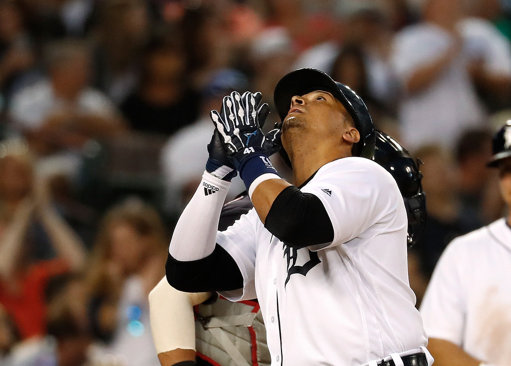 . Detroit Tigers\' Victor Martinez celebrates after hitting a solo home run against the Cleveland Indians in the sixth inning of a baseball game in Detroit, Friday, July 27, 2018. (AP Photo/Paul Sancya)