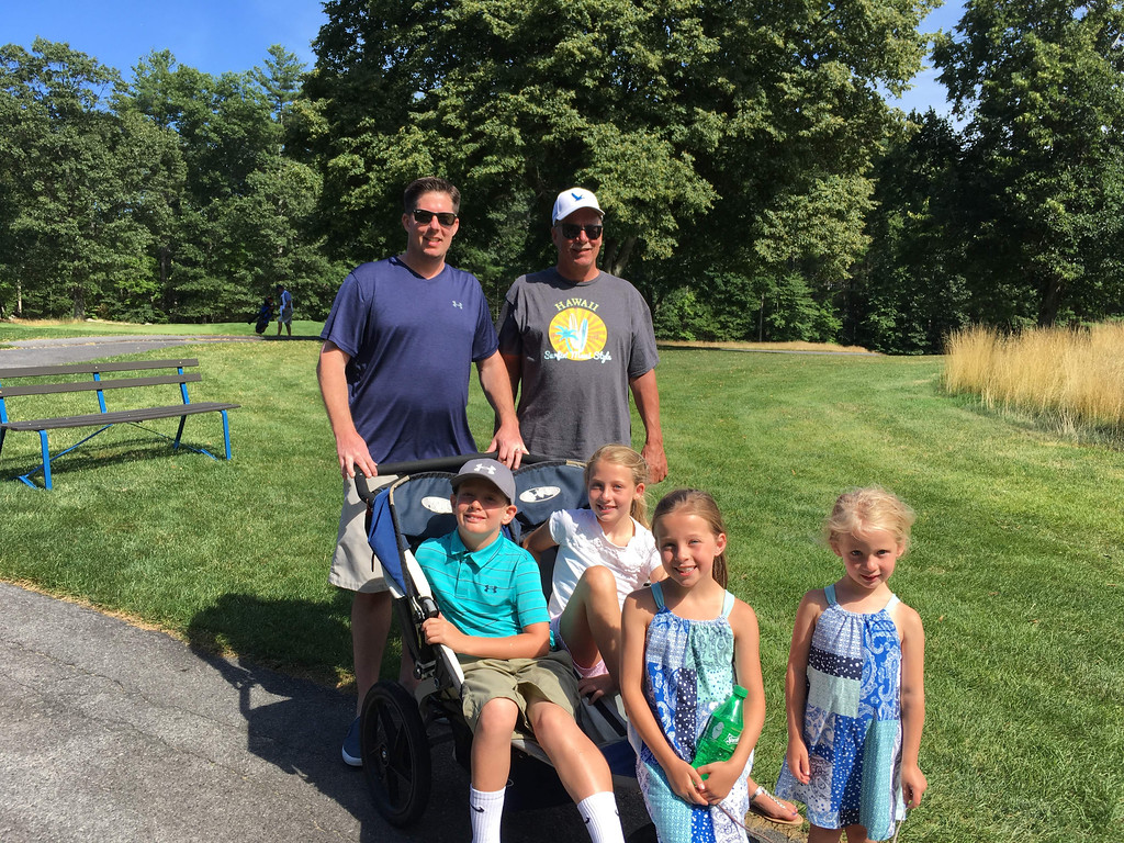. The McKiernan Family from Lowell, standing, T.J. and Tom, with Tommy, Avery, Reese and Maeve