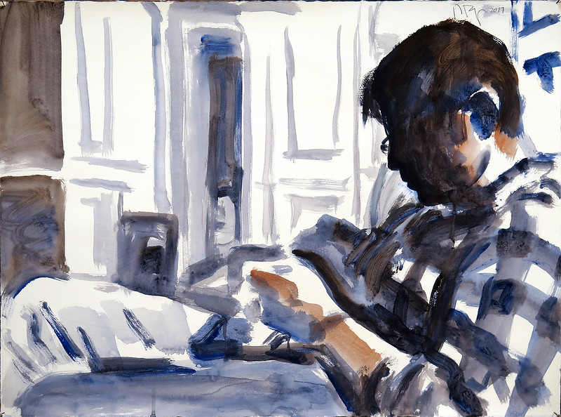 Texting man (NYC series); acrylic on unprimed paper, 22 x 30 in, 2017