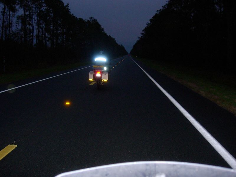 In the cold, dark, and drizzle on FL-100, heading East to Krautbikeman's haus