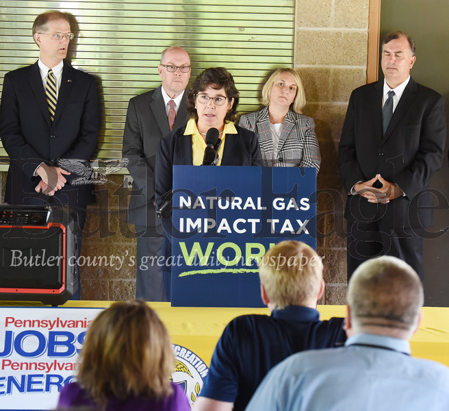 Harold Aughton/Butler Eagle: Butler County Commissioner Kim Geyer addresses the media gatherd at Alameda Park about the benefits of the natural gas impact fee Tuesday, August 20. 2019.