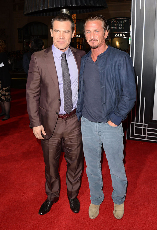 ". Actors Josh Brolin and Sean Penn arrive at Warner Bros. Pictures\' ""Gangster Squad\"" premiere at Grauman\'s Chinese Theatre on January 7, 2013 in Hollywood, California.  (Photo by Jason Merritt/Getty Images)"