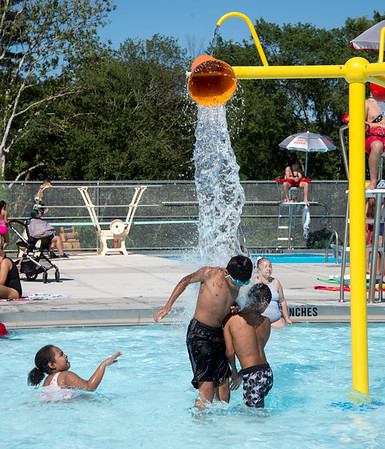 06/27/19 Wesley Bunnell | Staff Visitors beat the heat on a hot afternoon at the renovated A.W. Stanley Park pool on Thursday June 27, 2019.