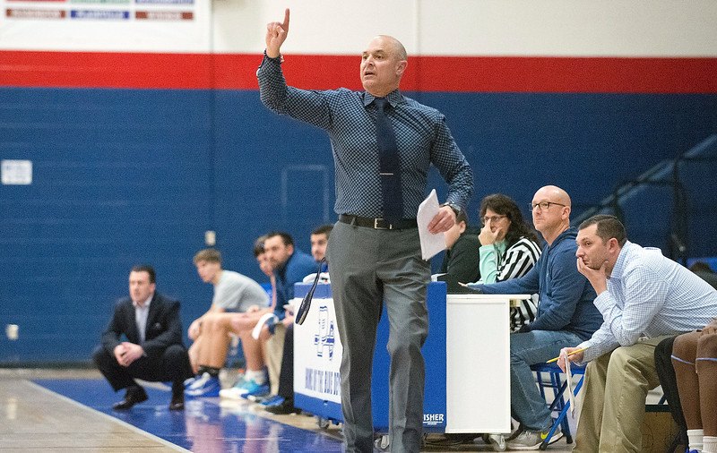 02/11/20   Wesley Bunnell | Staff\r\rPlainville boys basketball at home on Tuesday night against Lewis Mills. Head coach Jim DiNello.