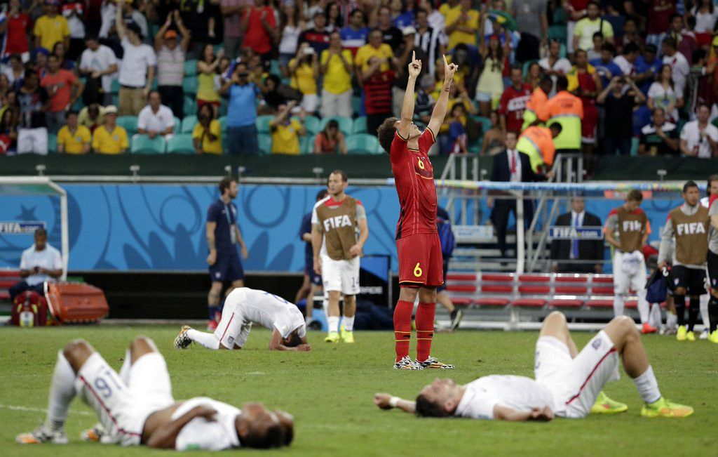 ". <p><b> The World Cup TV ratings are out, and Neilsen reports that 21.6 Americans last week watched � </b> <p> A. The U.S.-Belgium matchup in the round of 16 <p> B. The last soccer game they will look at until 2018 <p> C. All of the above <p><b><a href=\'http://abcnews.go.com/Sports/wireStory/nielsen-216-million-viewers-belgium-game-24404281\' target=""_blank\"">LINK</a></b> <p>   (AP Photo/Felipe Dana, File)"