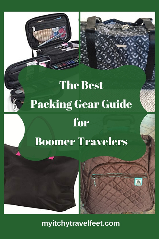 collage of travel packing items