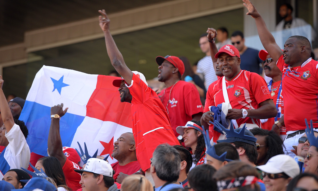 . Panmanian fans celebrate early in the game at the StubHub Center in Carson, CA on Sunday, February 8, 2015. US men\'s national team vs Panama in an international friendly soccer match. 1st half. (Photo by Scott Varley, Daily Breeze)