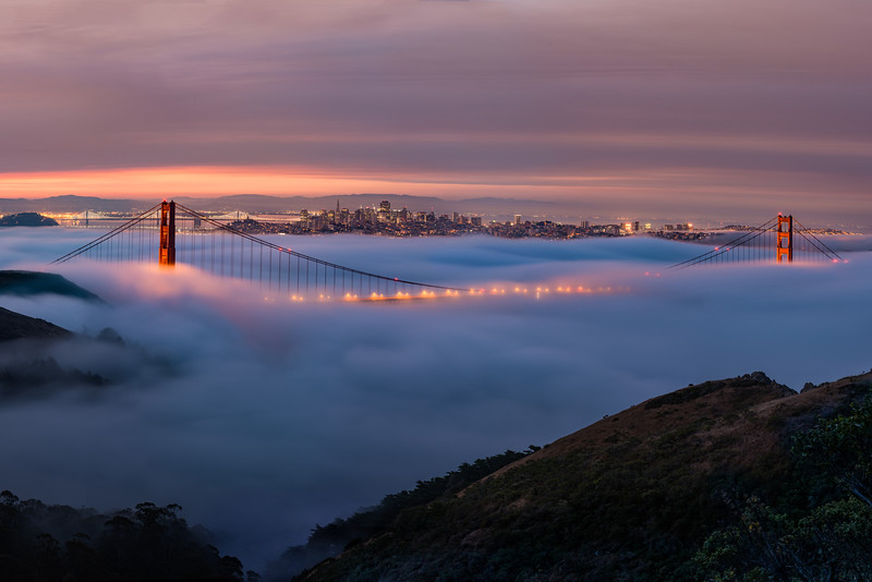 BIG photo prints are all the rage these days, so whenever I can I throw on my telephoto lens and try to take a multi-photo panorama. Here we have a 135 megapixel rendering of low fog at the Golden Gate Bridge