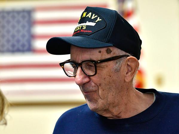 12/7/2019 Mike Orazzi | StaffrNavy veteran John Fensick at the Bristol American Legion Seicheprey Post 2 on Saturday morning for the Pearl Harbor Day ceremony.