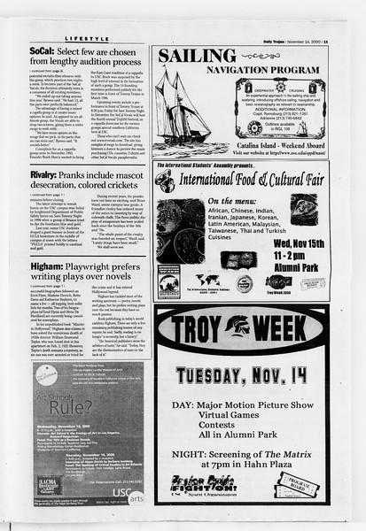 Daily Trojan, Vol. 141, No. 54, November 14, 2000
