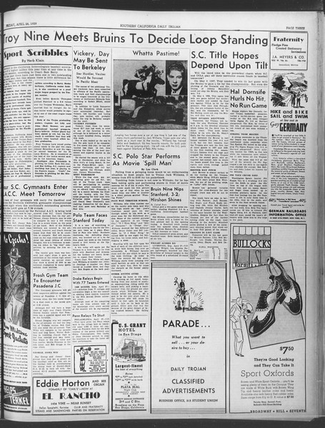 Daily Trojan, Vol. 30, No. 125, April 28, 1939