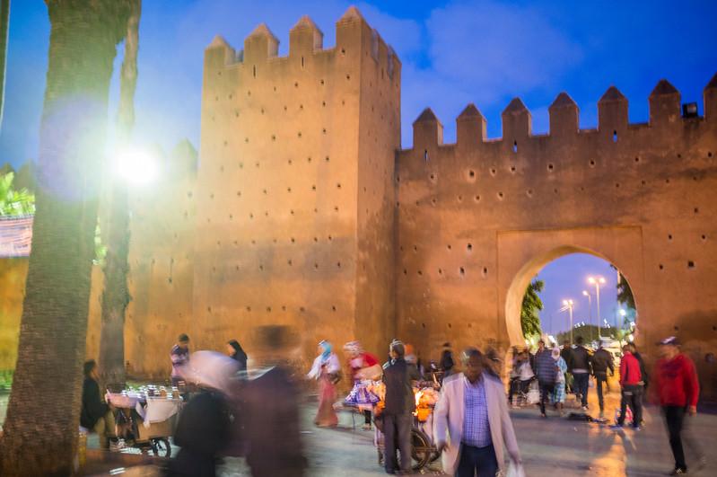 Medina walls and gate,  Bab el Had Square, Rabat, Morocco