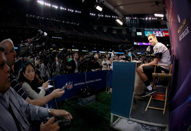 . Baltimore Ravens quarterback Joe Flacco answers questions from journalists during Media Day for the NFL\'s Super Bowl XLVII in New Orleans, Louisiana January 29, 2013. The San Francisco 49ers will meet the Ravens in the game on February 3. REUTERS/Sean Gardner