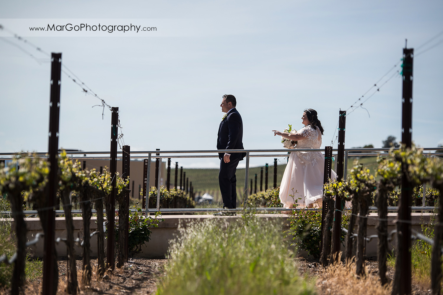 bride approaching groom during first look at Livermore Garre Vineyard and Winery