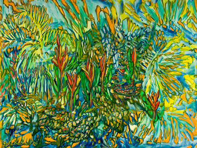 """©John Rachell  Title: Garden Composition, October 18, 2006 Image Size: 30"""" w by 40"""" d Dated: 2006 Medium and Support: Oil Paint on Canvas Signed: LL Signature"""