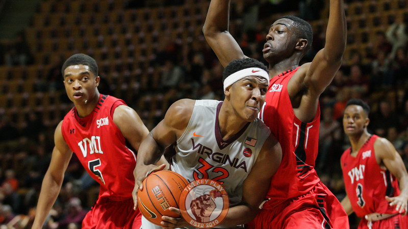 Zach Leday bodies his way through a VMI defender in the second half on his way to the basket. (Mark Umansky/TheKeyPlay.com)
