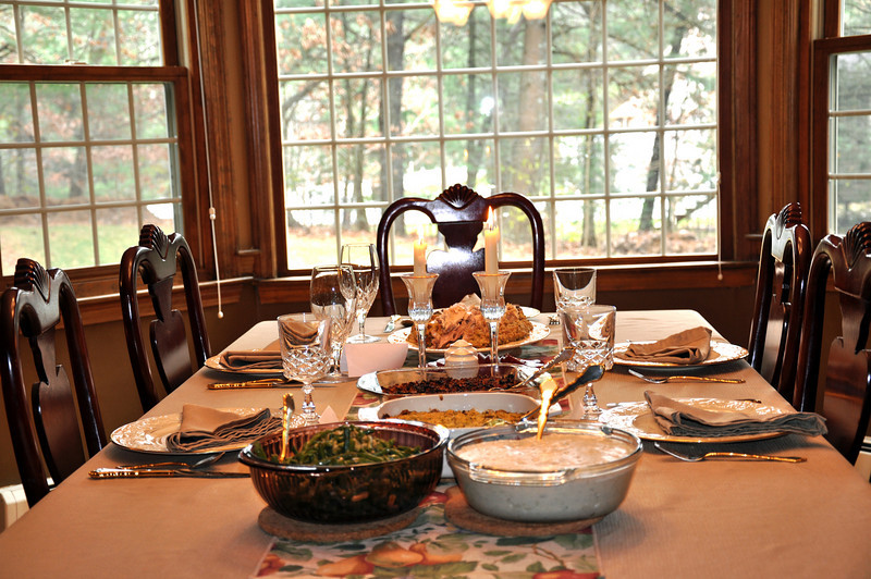 Thanksgiving table at our house in Norfolk, Massachusetts