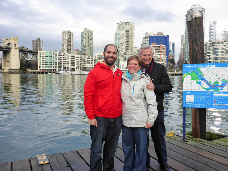 Matt, Mom, and Dad waiting for the False Creek Ferry to get back from Granville island to the West End.