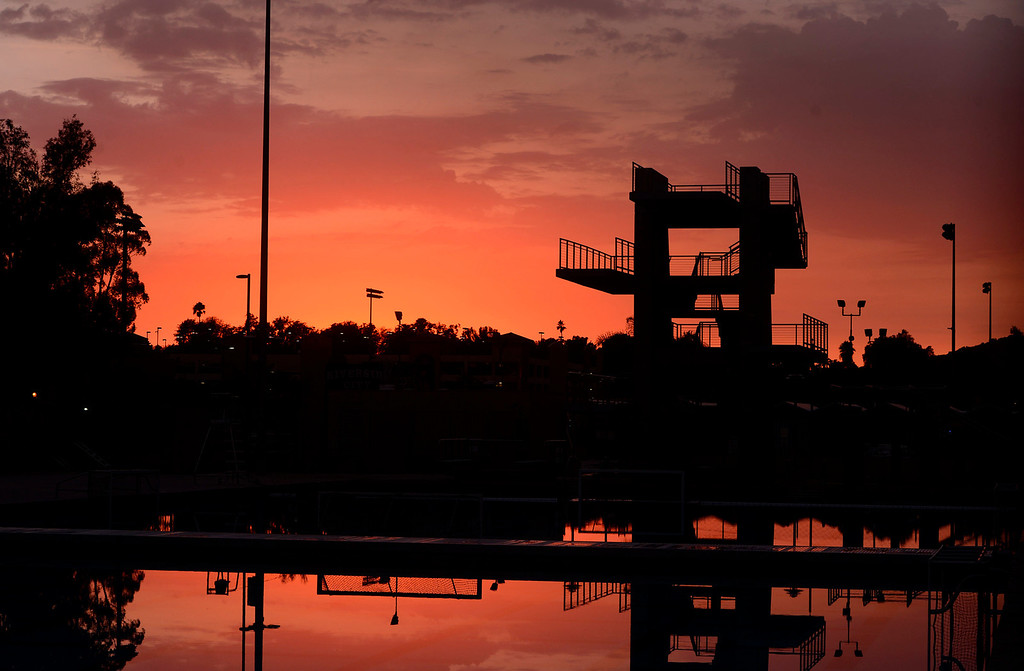 . A view of the Riverside Community College Aquatic Center seen at sunset after a heavy rain storm has passed in Riverside August 29, 2013.     GABRIEL LUIS ACOSTA/STAFF PHOTOGRAPHER.