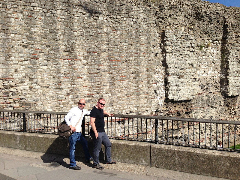 A roman wall.  And dudes.