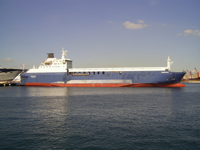 M/S FINNFOREST in Napoli, chartered to SNAV to strengthen the Napoli - Palermo route.