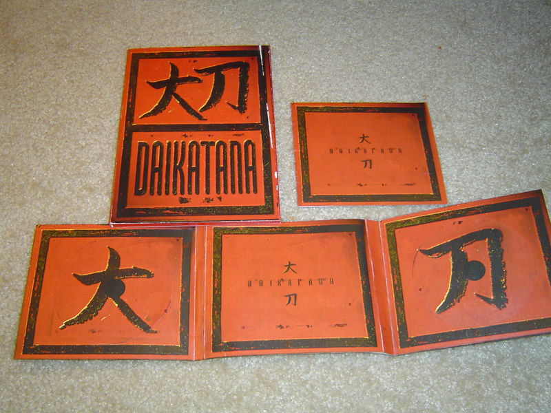 Here's the concept material for a digipak version (which we didn't make).  If the game was multi-CD we would have put the CDs on the two Daikatana symbols.